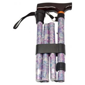 Folding Walking Stick T Handle - Blossom Pink (33 - 37