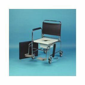 Chrome Plated Steel Wheeled Commode - With Footrests