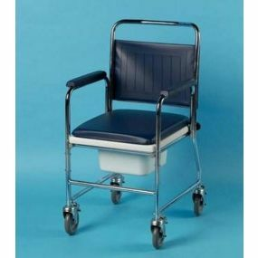 Chrome Plated Steel Wheeled Commode - Without Footrests (Square Bowl)