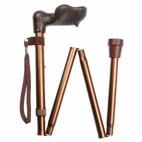 Folding Walking Stick Comfort/Ergonomic Left Handle - Bronze (32 - 36
