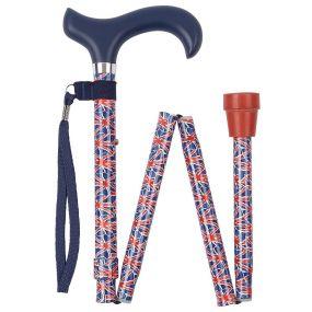 Folding Walking Stick Derby Handle - Union Jack (31 - 35