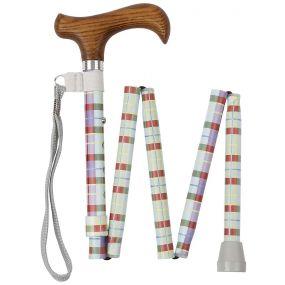 Folding Walking Stick Derby Handle - Pastel Tartan (33 - 36