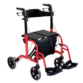 Duo Deluxe Rollator and Transit Chair - Red
