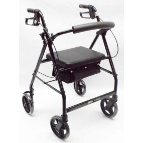 Lightweight Aluminium Rollator With Bag (8 Inch Wheels) - Black