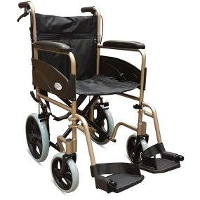 Folding Aluminium Transit Wheelchair - With Attendant Brakes - Champagne - 19