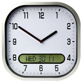 Clear Time Day Date Wall Clock