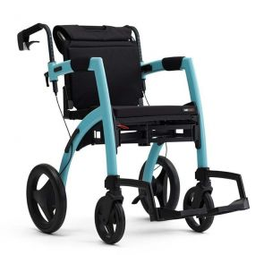 Rollz Motion 2-in-1 Rollator Transport Chair - Island Blue