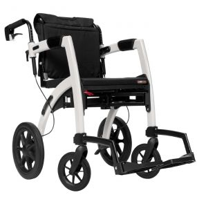 Rollz Motion 2-in-1 Rollator Transport Chair - Pebble White
