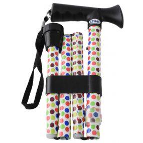 Folding Walking Stick T Handle - Polka Dot (29 - 33