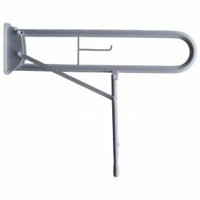 Stainless Steel Drop Down Rail With Double Arm - Toilet Roll Holder & Leg - 89cm (White)