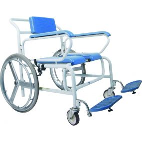 Bariatric Self Propelled Wheeled Shower Commode Chair - Butterfly Armrest 24