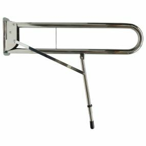 Stainless Steel Drop Down Rail With Double Arm - & Leg - 89cm (Polished)