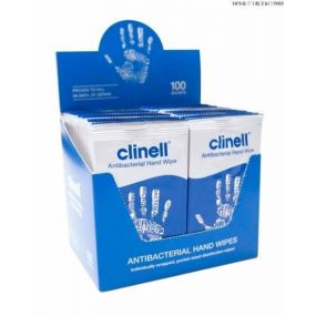 Clinell Antibacterial Hand Wipes - Individually Wrapped (100 Packs)
