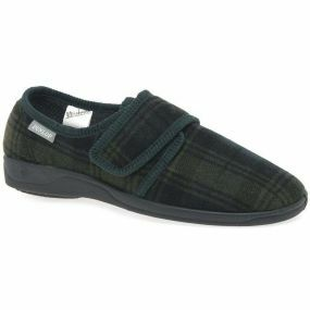 Gents Merrrick Slippers - Size 8 (Dark Green Check)
