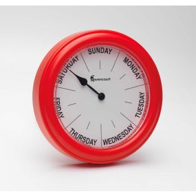 Easy To Read Red Day Clock