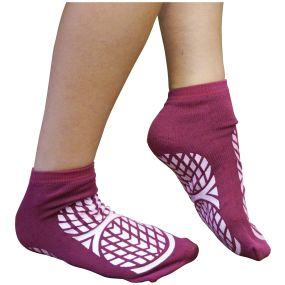 Double Sided Non Slip Patient Slipper Socks - Size 4-7 (Purple)