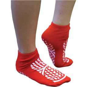 Double Sided Non Slip Patient Slipper Socks - Size 4-7 (Red)