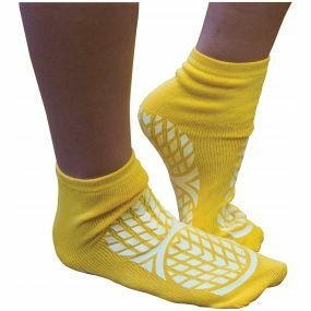 Double Sided Non Slip Patient Slipper Socks - Size 7.5-9.5 (Yellow)