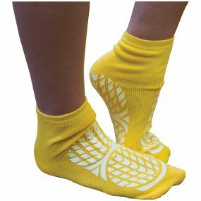 Double Sided Non Slip Patient Slipper Socks - Size 10 - 12 (Yellow)