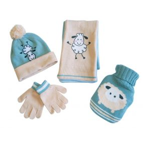 Childrens Hot Water Bottle, Hat, Scarf And Glove Gift Set - Yellow & Green