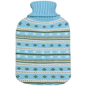 2 litre Hot water Bottle & Cover - Blue Stripe