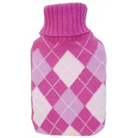 2 litre Hot water Bottle & Cover - Pink Diamond