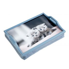 Wooden Lap Tray With Cushion - Kittens