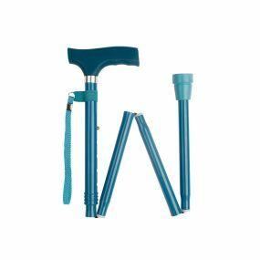 Folding Walking Stick Soft Grip Handle - Teal (33 - 37