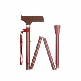 Folding Walking Stick Soft Grip Handle - Burgundy (33 - 37