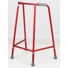 Red Adjustable Height Standard Walking Frame - Medium