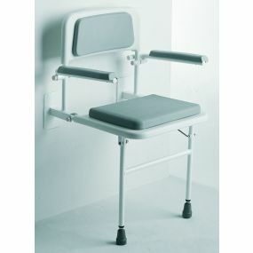 Padded Wall Mounted Seat with Arms and Back - Grey