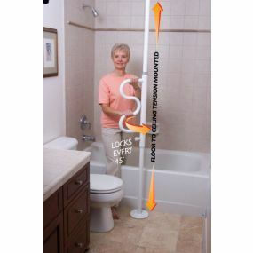 Security Pole & Curve Grab Bar (White)