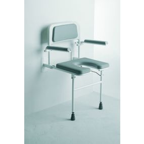 Padded Gap Front Wall Mounted Seat with Arms & Back