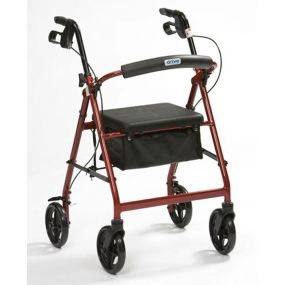 Lightweight Aluminium Rollator With Bag (6 Inch Wheels) - Red