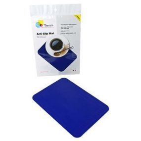 Tenura Silicone Rubber Anti Slip Rectangular Mat (25.5x18.5 cm) Blue