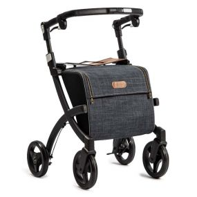 Rollz Flex Shopper & Rollator - Matt Black Frame (Denim Grey Bag) - Classic Brakes