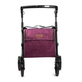 Rollz Flex Shopper & Rollator - Matt Black Frame (Purple Bag) - Classic Brakes