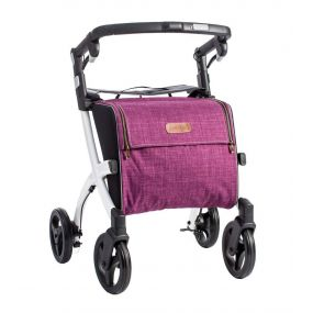 Rollz Flex Shopper & Rollator - White Frame (Purple Bag) - Classic Brakes