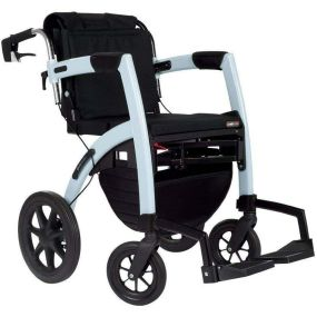 Rollz Motion 2-in-1 Rollator Transport Chair - Ice Blue