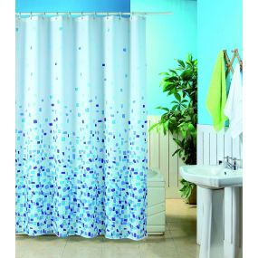 Patterned Polyester Shower Curtains - Mosaic (180x180cm)
