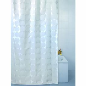 Patterned Polyester Shower Curtains - White Sphere (180x180cm)