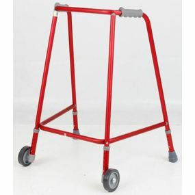 Red Adjustable Height Narrow Wheeled Walking Frame - Large