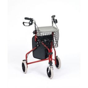 Economy Tri-walker Steel (Red) (With Basket Bag & Tray)