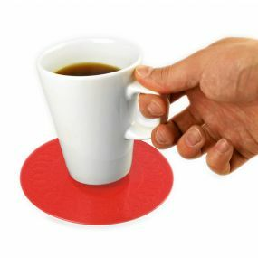 Tenura Silicone Rubber Anti Slip Circular Mat/Coaster (14 cm) Red