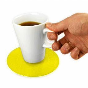 Tenura Silicone Rubber Anti Slip Circular Mat/Coaster (14 cm) Yellow