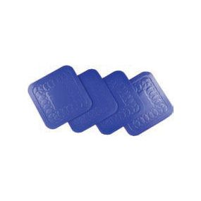 Tenura Anti Slip Silicone Rubber Square Coaster Blue 90mm (Pack of 4)
