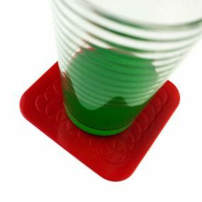 Tenura Anti Slip Silicone Rubber Square Coaster Red 90mm (Pack of 4)