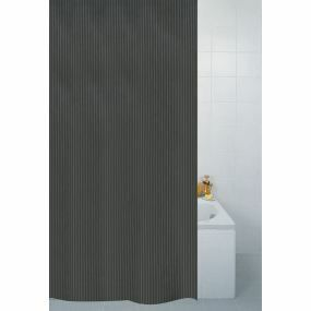 Textile Stripe Shower Curtain - Black (180x180cm)
