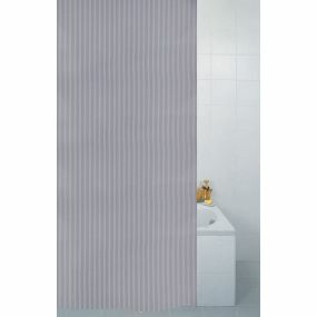 Textile Stripe Shower Curtain - Silver (180x180cm)