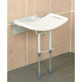 Wall Mounted Shower Seat With Legs - Aluminium